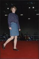 Floral shirt, denim skirt, and oxford shoes at the Boat Show Fashion Show