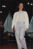 Drawstring pants with a sweater at the Boat Show Fashion Show