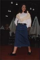 Stevens model wears a denim skirt during the Boat Show Fashion Show
