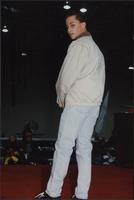 Jay Boothman wearing a jacket and jeans during the Boat Show Fashion Show