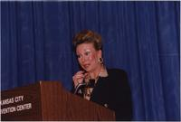 Melissa Stevens speaks during the Boat Show Fashion Show