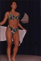 Green plaid bikini during the Boat Show Fashion Show