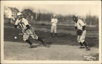 Postcard - Young men playing baseball
