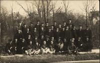 Postcard - Graduating students with band members