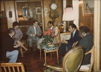Jay McShann with Ralph Sutton, Gus Johnson, and others in a living room