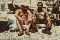 Jay McShann and George on a beach in Nice, France