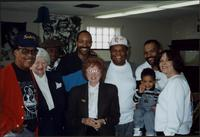 Jay McShann posing for a group photo at the Mutual Musicians Foundation