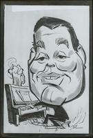 Reprint of a caricature of Jay McShann playing piano