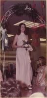 Stevens model wears a pale pink halter bridesmaid's gown during a spring bridal showing at Indian Springs Shopping Center