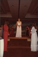 Renee Ruch stands at the top of the stairs during the evening gown portion of the Miss Kansas USA 1983 pageant