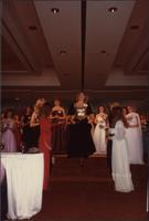 Contestant 26 comes down the stairs during the evening gown portion of the Miss Kansas USA 1983 pageant