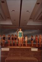 Renee Ruch wears a swimsuit center stage during the Miss Kansas USA 1983 pageant