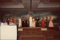 Rene Ruch stands center stage during the evening gown portion of the Miss Kansas USA 1983 pageant