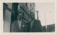 Bill Walker and Warren Durrett, standing by the street in Newton, Kansas