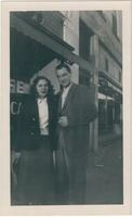 Joy Scott and Warren Durrett, standing on the sidewalk in Newton, Kansas