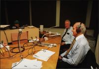 Walt Bodine, Edwin Meese, and George McGovern conduct an episode of The Walt Bodine Show on KCUR in the studio