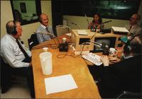 Walt Bodine, Edwin Meese, George McGovern, and two unidentified guests conduct an episode of The Walt Bodine Show on KCUR in the studio