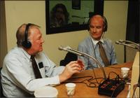 Edwin Meese and George McGovern speak in a studio on an episode of The Walt Bodine Show on KCUR