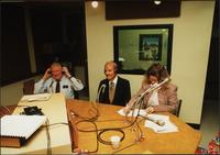 Edwin Meese, George McGovern, and an unidentified woman in a studio during an episode of The Walt Bodine Show on KCUR