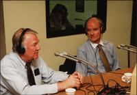 Edwin Meese and George McGovern in a studio during an episode of The Walt Bodine Show on KCUR