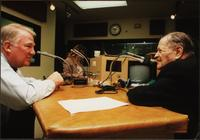 Edwin Meese and Walt Bodine in the studio during an episode of The Walt Bodine Show on KCUR, off air