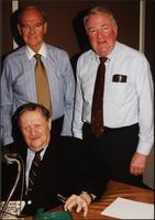 Walt Bodine, George McGovern, and Edwin Meese pose for a picture in the studio during an episode of The Walt Bodine Show on KCUR