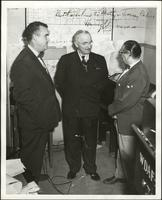 Walt Bodine, Randall Jessee, and Harry S. Truman have a conversation at the WDAF station