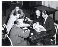 Billie Holiday, Dave Dexter, Al Jarvis, an unidentified man, and Duke Ellington
