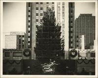 Rockefeller Center's Christmas tree with scaffolding