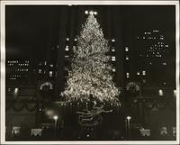 Rockefeller Center's Christmas tree lit up at night