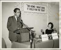 "Stanton Rosenberg at podium of panel forum: ""The home - What does it hold for the teen?"" at the KC Mace Conference, 1967"