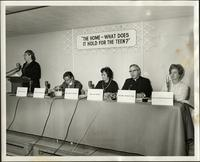 "Inez Benson at podium of panel forum: ""The home - What does it hold for the teen?"" at the KC Mace Conference, 1967"