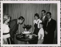 Martha Jane Starr, John W. Starr, two unidentified young people, John Philip Starr, and Jim Starr at birthday party