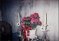 Christmas decoration display of flowers and candlesticks at Starr Residence