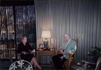 Martha Jane Starr and John W. Starr sitting in sunroom at Starr Residence