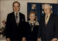 John Philip Starr, Martha Jane Starr, and John W. Starr at Boy Scout needlepoint exhibit