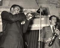 Buck Clayton with Earle Warren on stage