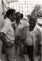 Buck Clayton, Harry Sweets Edison, and Count Basie relaxing on the streets of Nice, France