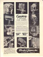 "Advertisement for the Grover Universal View Camera, included in continuation of K. Chester article in December 1946 Popular Photography entitled ""Photographing the Nuremberg Trials, Again the Camera Makes History."""