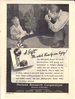 "Advertisement for Heiland Model ""K"" Flash Synchronizer included in continuation of K. Chester article in December 1946 Popular Photography entitled ""Photographing the Nuremberg Trials, Again the Camera Makes History."""