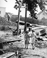 Two Young Girls at a Construction Site on Sherry Avenue