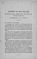 Addreess of Wm. Baxter Before the American Institute (Polytechnic Department) April 16. 1874.