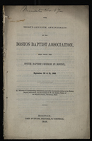 The Thirty-Seventh Anniversary of the Boston Baptist Association