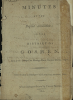 Minutes of the Baptist Association in the District of Goshen
