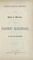 Ninth Annual Report of the Board of Directors of the Pacific Railroad