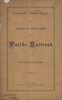 Nineteenth Annual Report of the Board of Directors of the Pacific Railroad