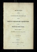 Minutes of the Fourteenth Anniversary Baptist Missionary Convention of the State of New York
