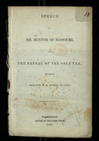 Speech of Mr. Benton of Missouri on the Repeal of the Salt Tax