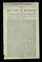 Admission of California: Remarks of Mr. Cass, of Michigan
