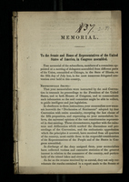 Memorial. To the Senate and House of Representatives of the United States of America, in Congress Assembled